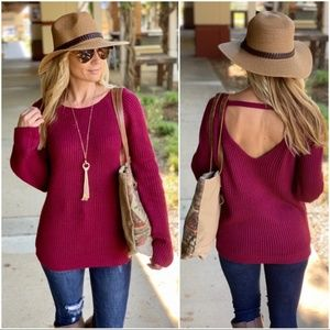 Wine Ribbed Knit Sweater